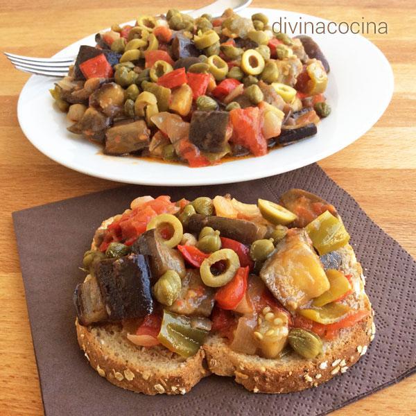 Caponata siciliana de berenjenas