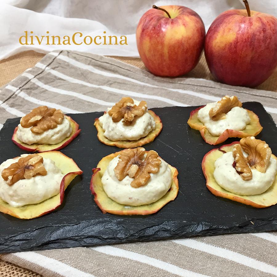 chips de manzana con queso nueces