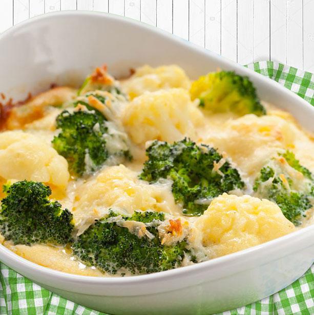 Brocoli y coliflor al horno