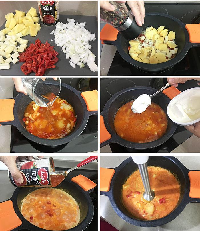 crema templada de tomate queso fresco y albahaca