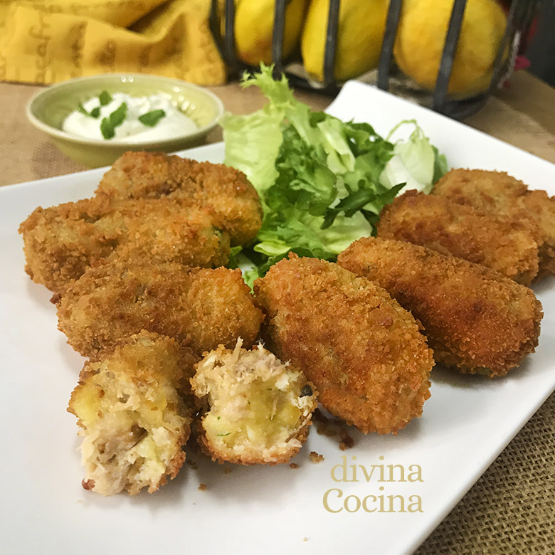 croquetas de pollo y patatas sin bechamel