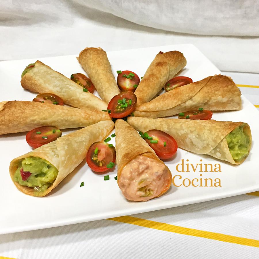 Receta de Cucuruchos de Obleas rellenos - Divina Cocina