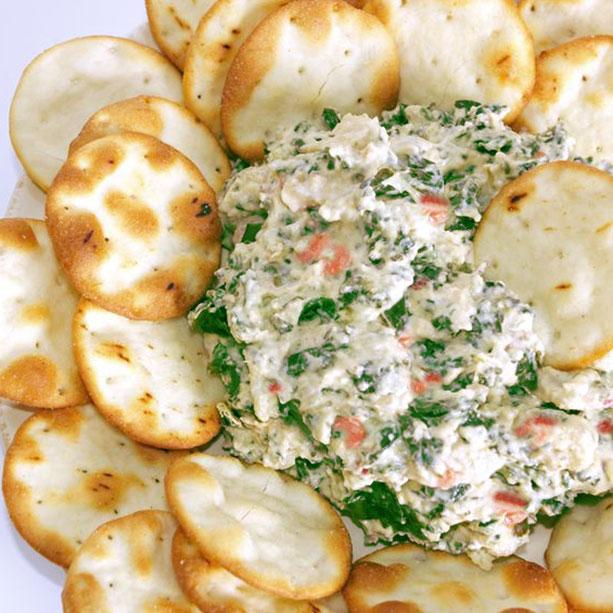dip queso salmon espinacas