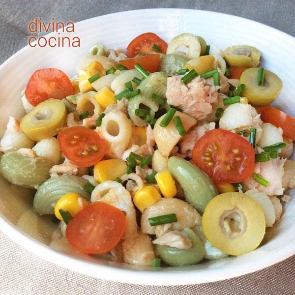 Receta de ensaladas de pasta varias divina cocina for Divina cocina canapes