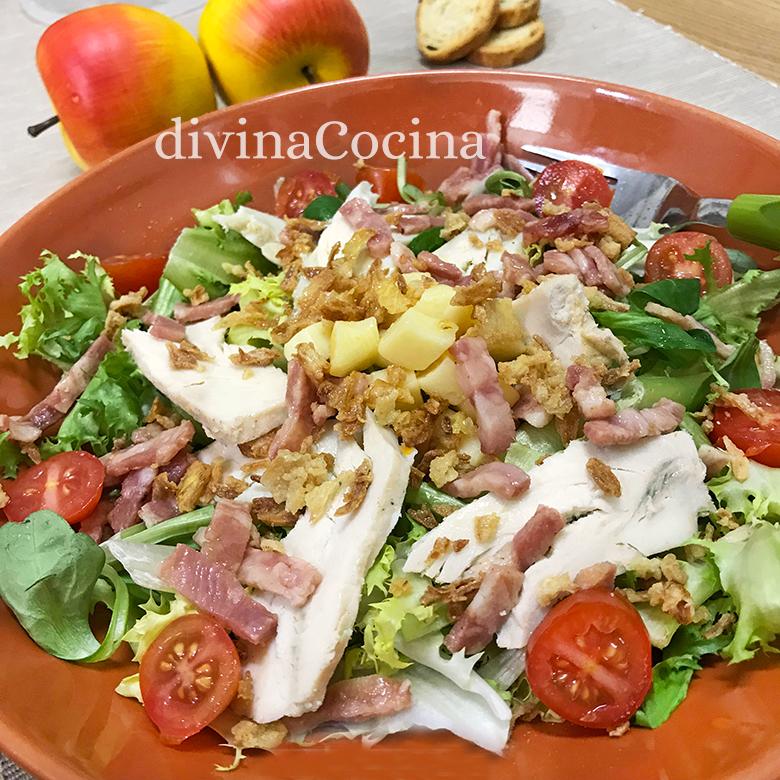 receta de ensalada de pollo bacon manzana