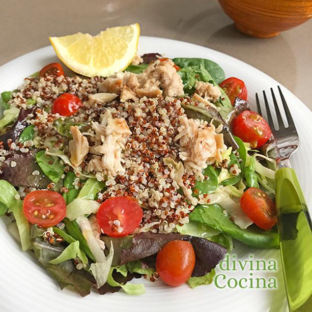 ensalada de quinoa y pollo