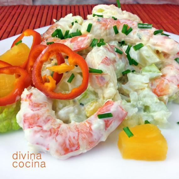 receta de ensaladilla crujiente de mariscos