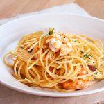 Tallarines o Espaguetis con gambas al ajillo