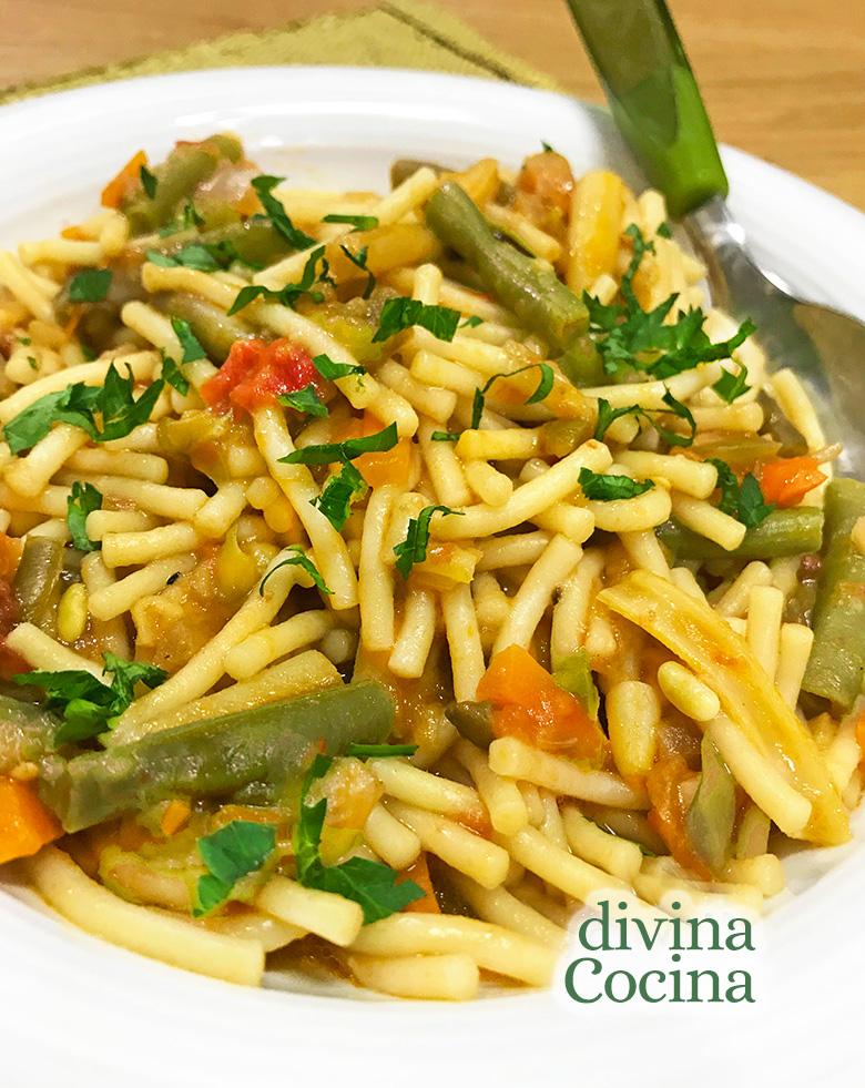 fideos con verduras