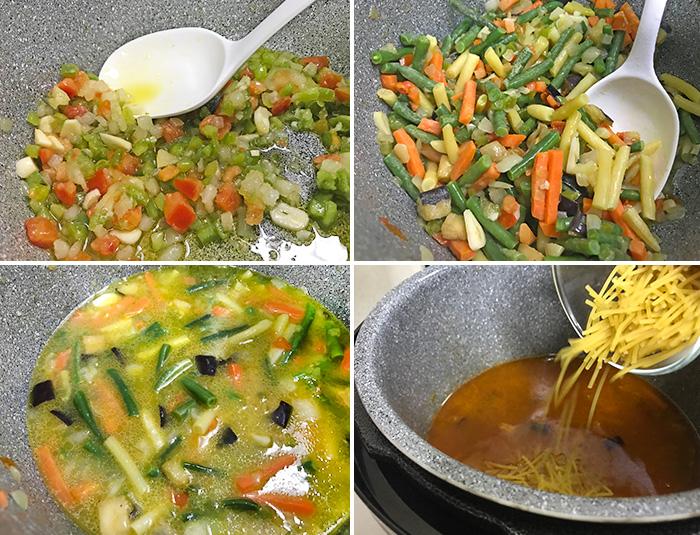 fideos con verduras paso a paso