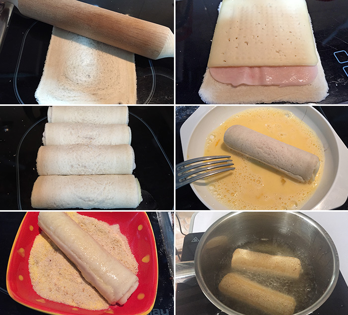 flamenquines de pan de molde paso a paso