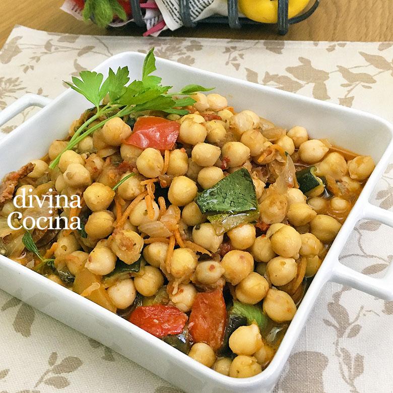 garbanzos salteados con verduras