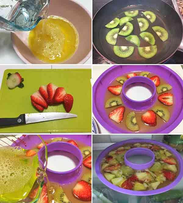 gelatina de frutas frescas paso a paso