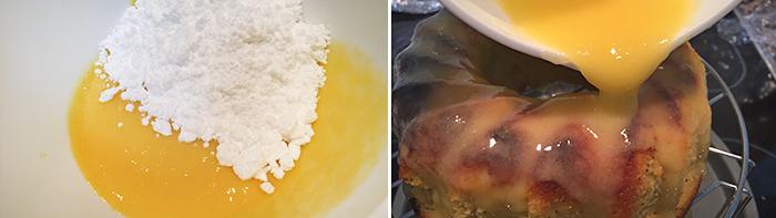 glaseado del bizcocho de mango