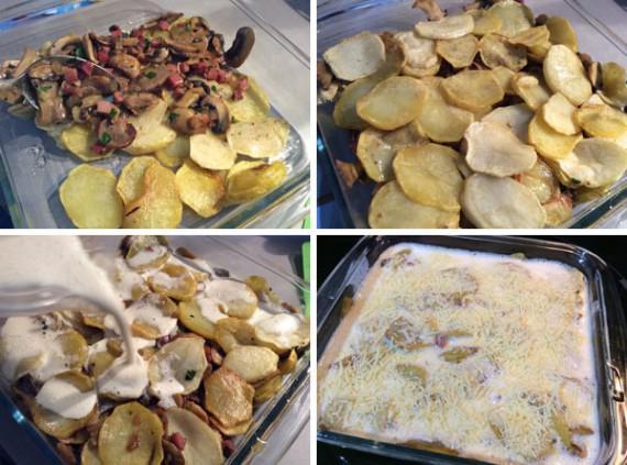 gratén de patatas y champiñones