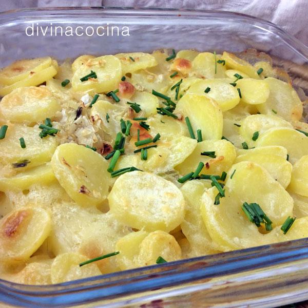 Gratén de patatas y cebolla rápido