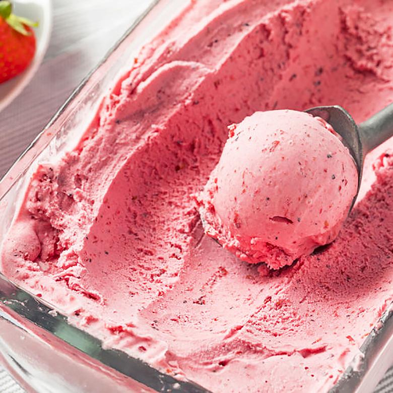 helado de fresa al momento