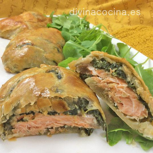 Hojaldres de salmón y espinacas
