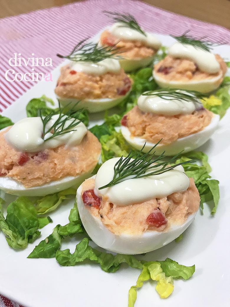 huevos rellenos de salmon
