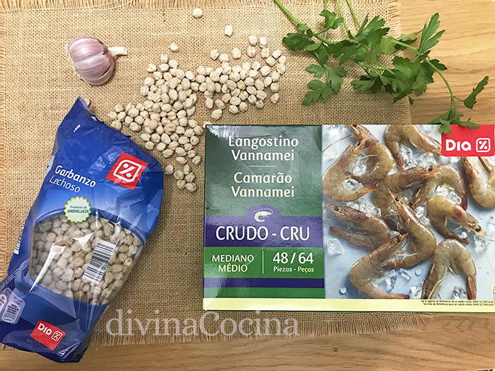 ingredientes garbanzos con langostinos