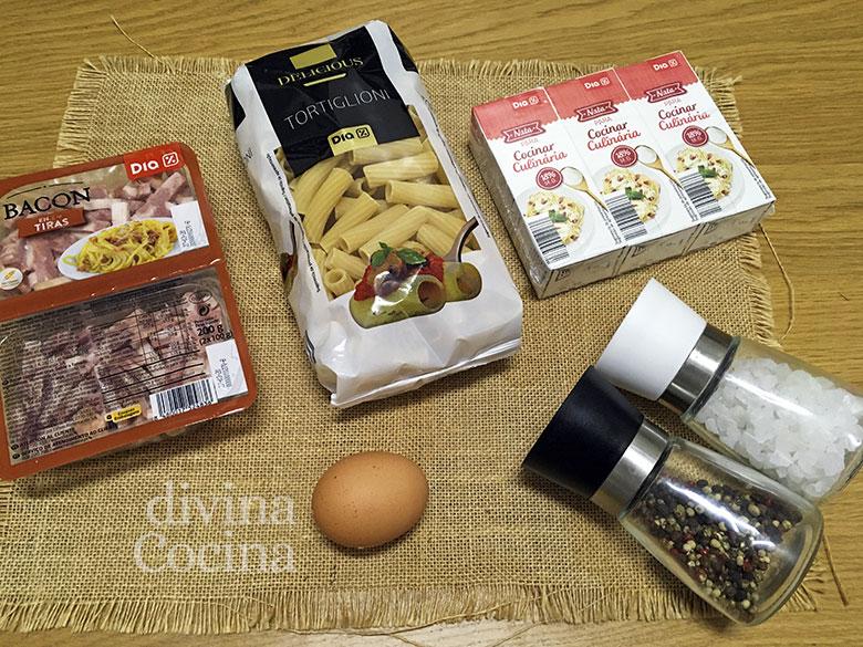 macarrones carbonara ingredientes