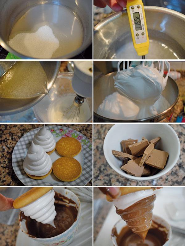 merengues con chocolate paso a paso