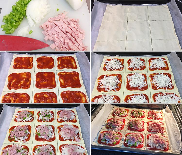mini pizzas de hojaldre paso a paso