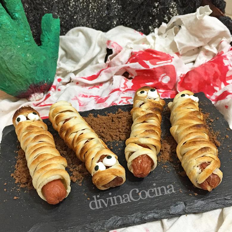 momias de salchichas halloween