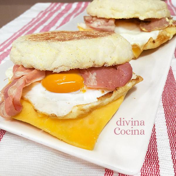 muffin de huevo y bacón