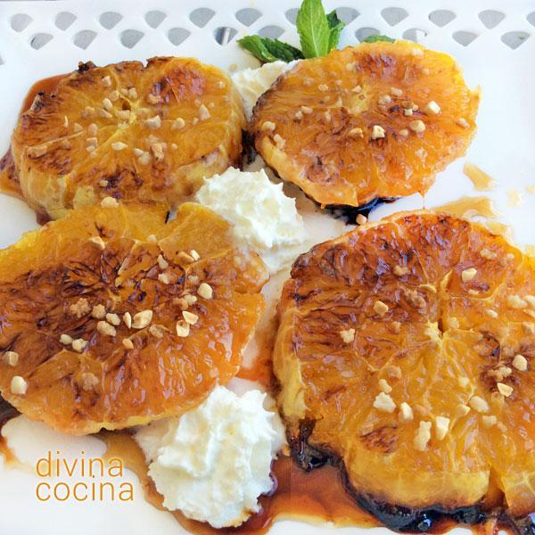 Naranjas tostadas con miel