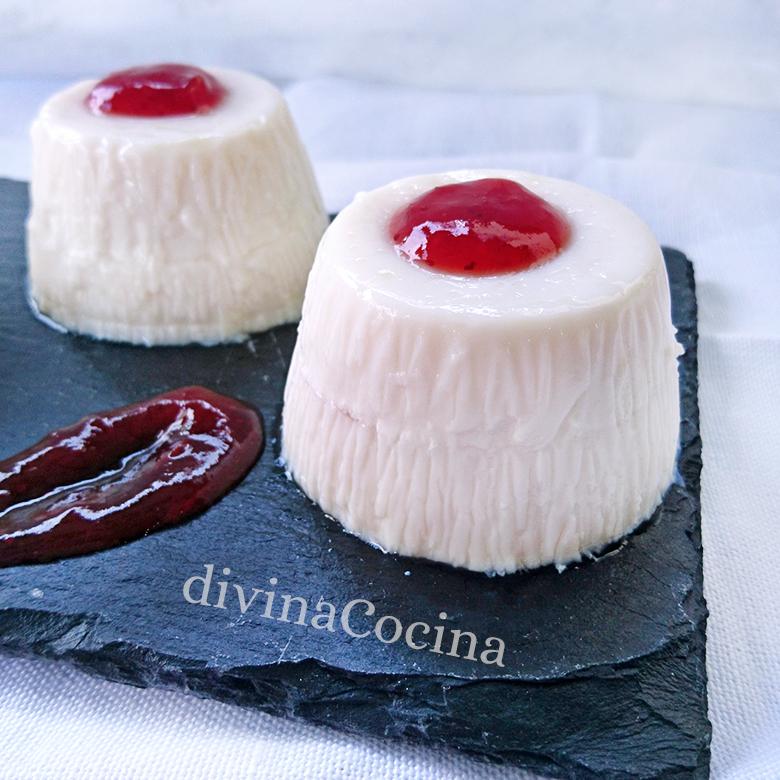 receta de panna cotta de yogur rellena de mermelada