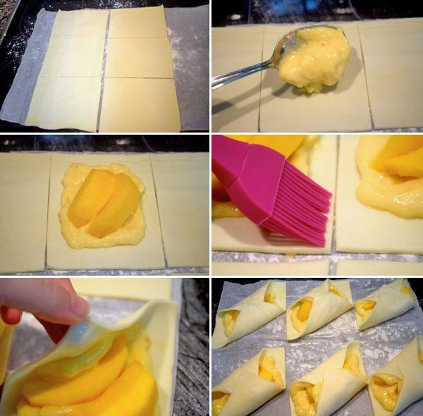 pañuelos de hojaldre y frutas paso a paso