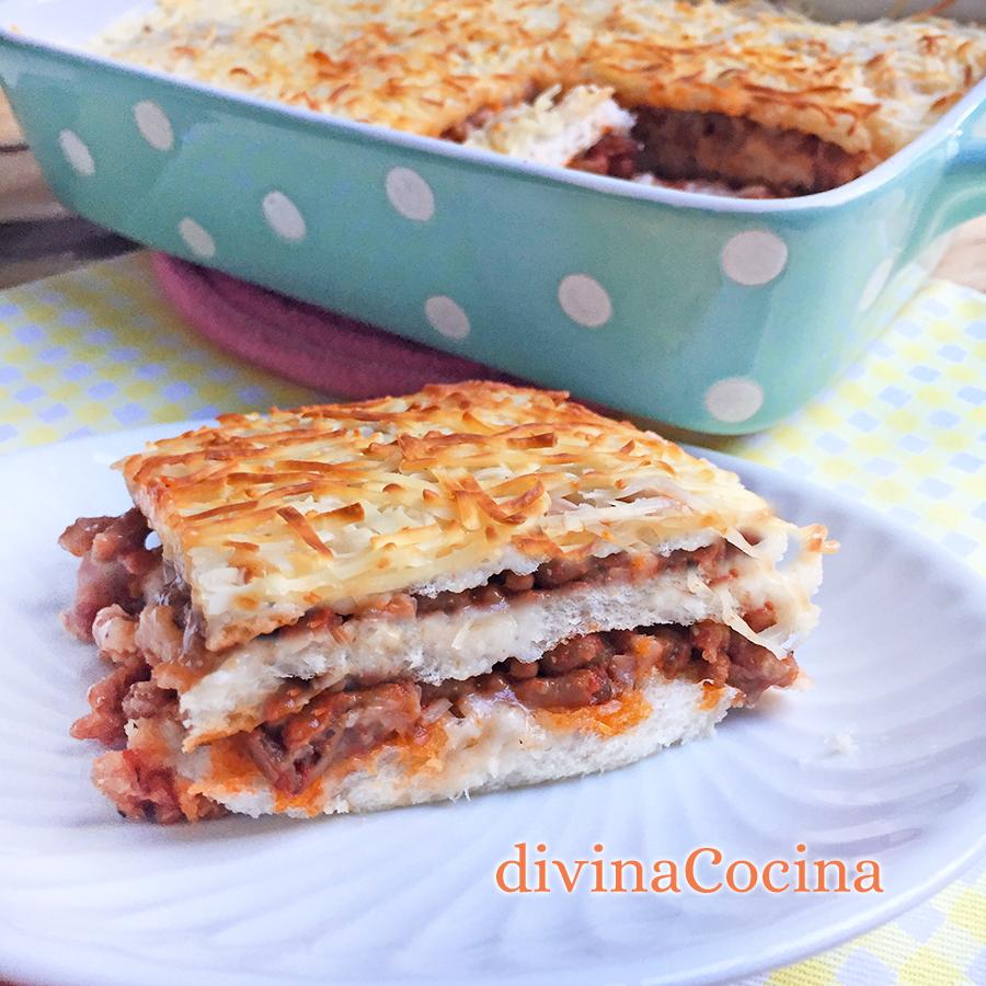 pastel de carne con pan de molde