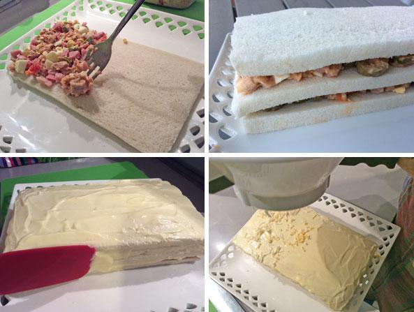 receta de pastel de sanwich