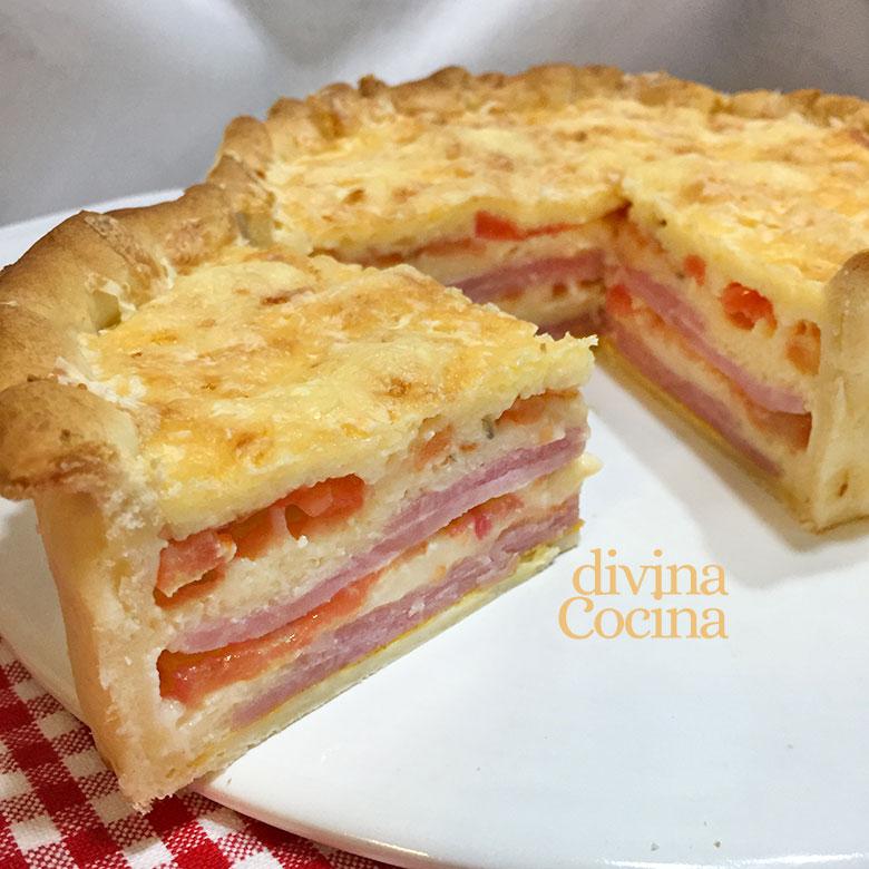 pastel napolitano de jamon queso y tomate