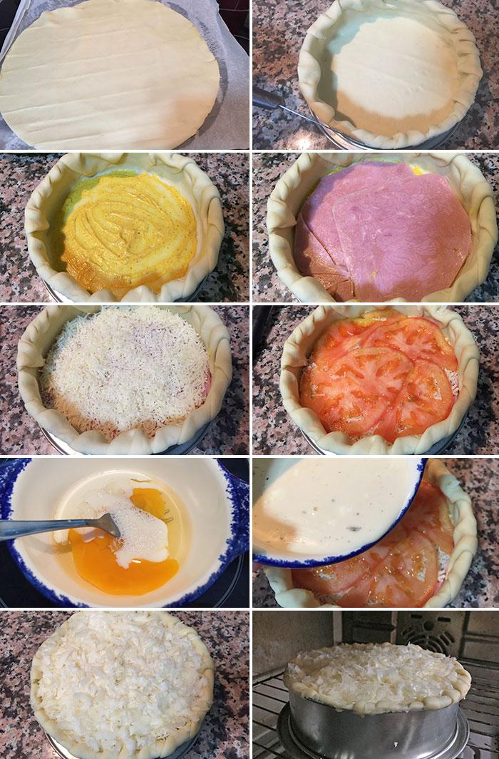 pastel napolitano de jamon queso y tomate paso a paso