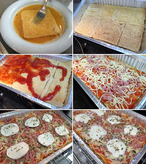 pastel de pan de molde estilo pizza paso a paso
