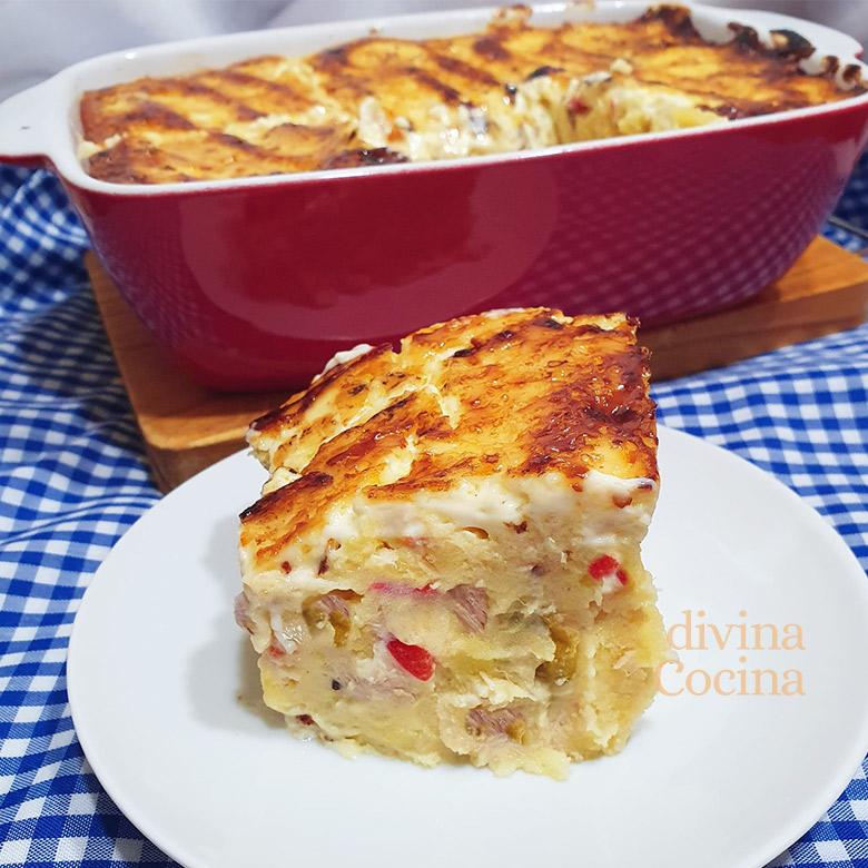 Pastel de patatas y atún al horno