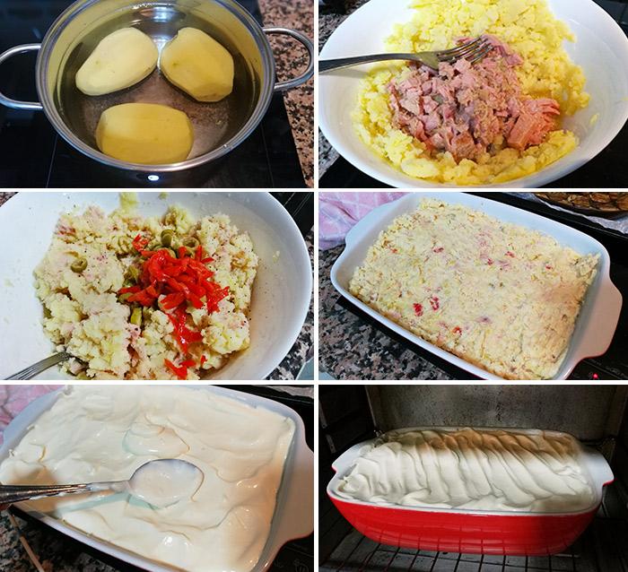 Pastel de patatas y atún al horno paso a paso