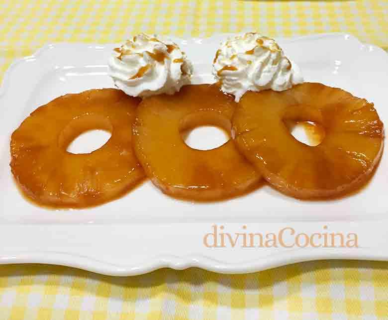 receta piña caramelizada a la miel