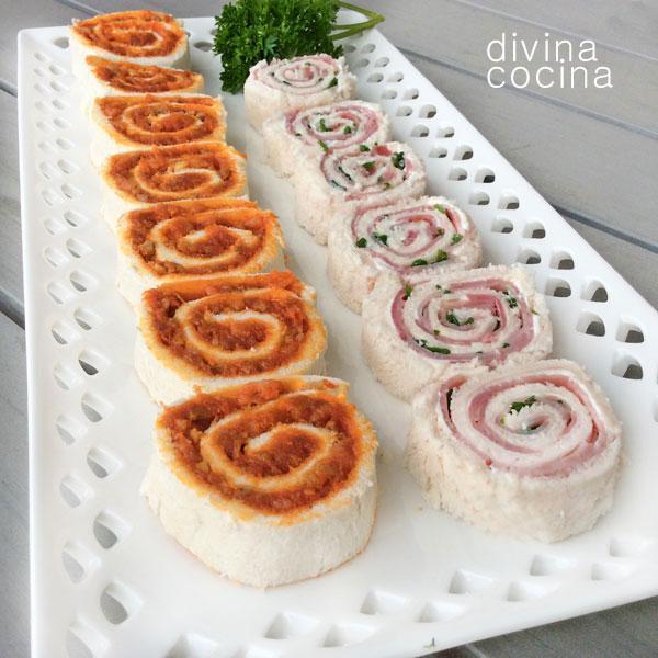 Espirales de pan de molde