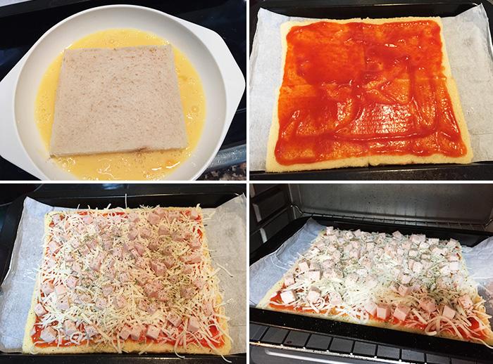 pizza pan de molde paso a paso