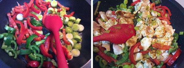pollo al curry salteado con pimientos