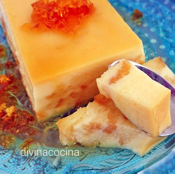 pudding de magdalenas y leche condensada