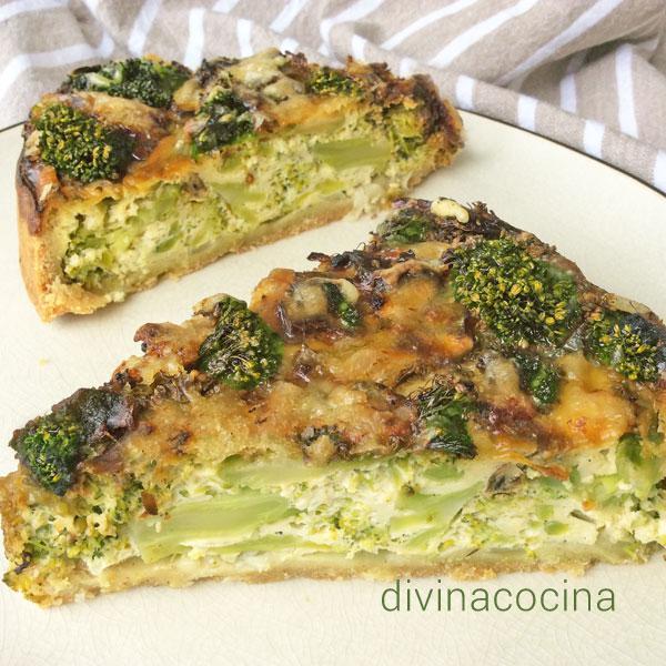 quiche de brócoli y queso azul