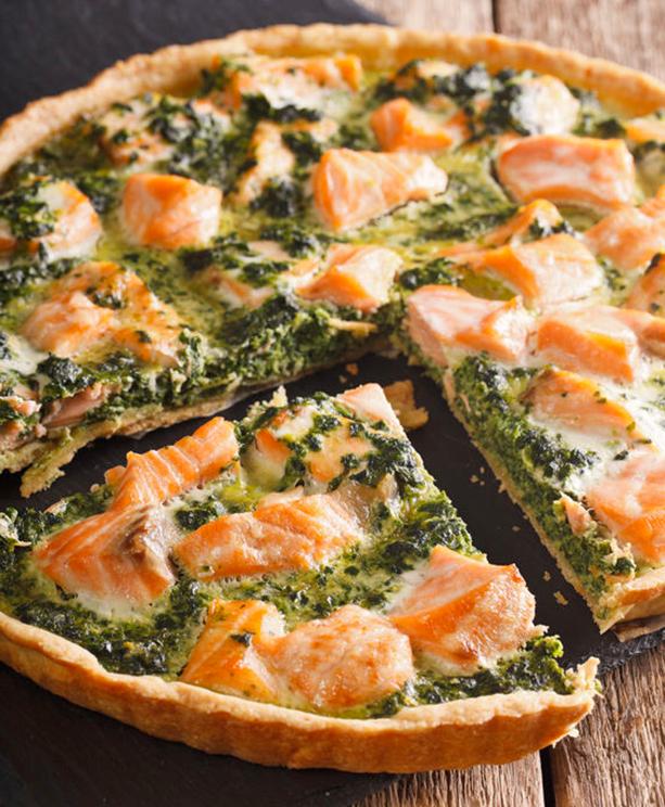 quiche de salmon y espinacas