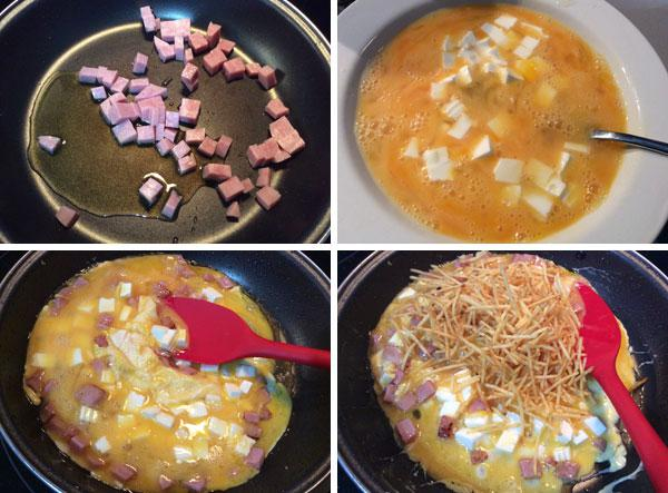 revuelto de patatas jamón y queso paso a paso