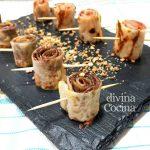 Rollitos de crepes dulces rellenos