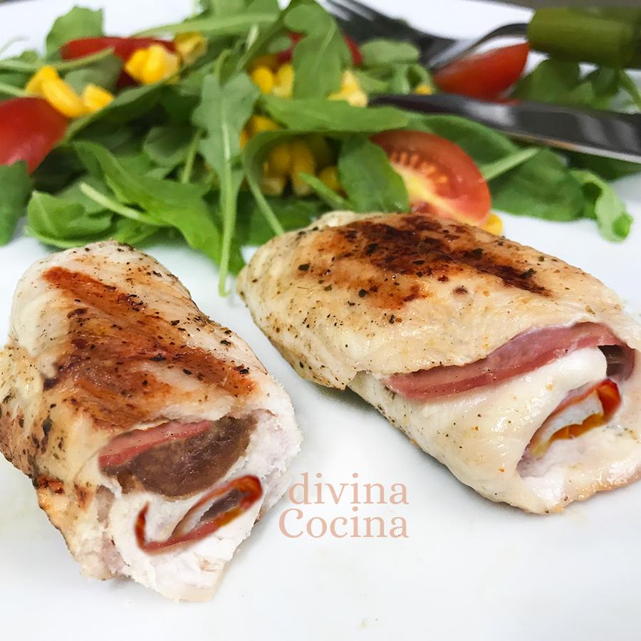 rollitos de pollo bacon datiles