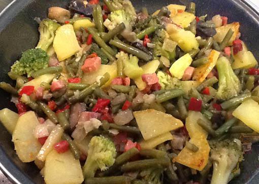 Salteado de verduras con jamón